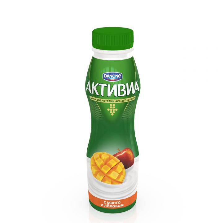 Биойогурт Активиа питьевой 2,2% 260г Манго/яблоко Данон
