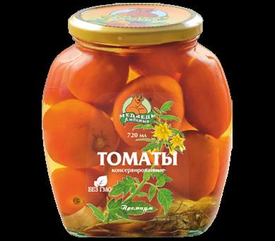 Томаты Медведь любимый консервированные премиум ст/б, 720мл