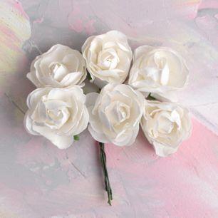 Бумажные цветы белые - Кукольная миниатюра 3 см