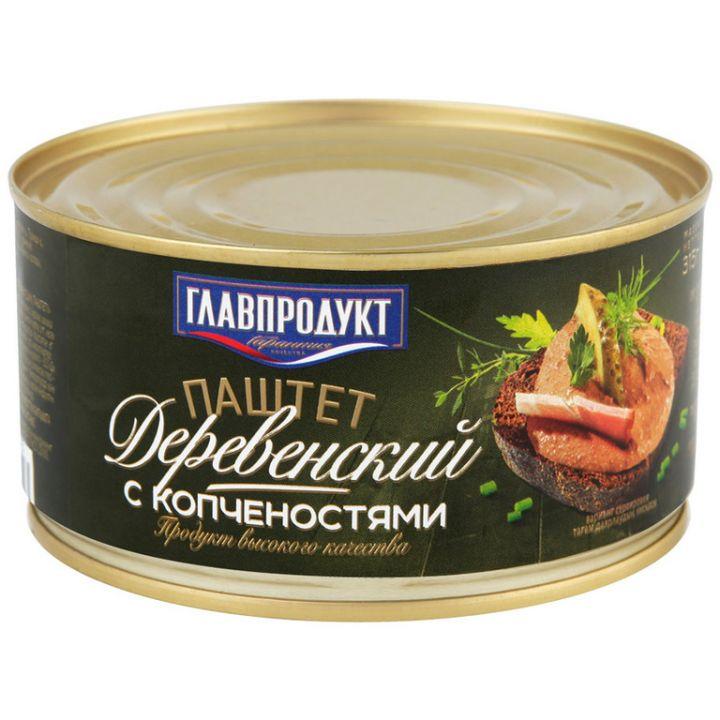 Паштет Главпродукт 315г Деревенский копчёный ж/б
