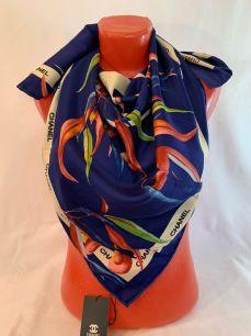 Шелковый платок Chanel синий с орхидеями, арт.077