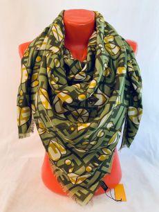 Зеленый шерстяной платок Fendi