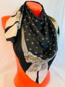Шелковый платок Chanel черный с бантом, арт. 093