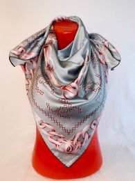 Шелковый платок Chanel серый,  арт 101