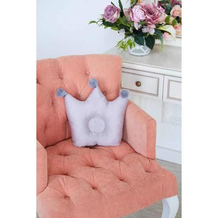 Подушка детская анатомическая Крошка Я «Корона» 32х25 см, цвет серый