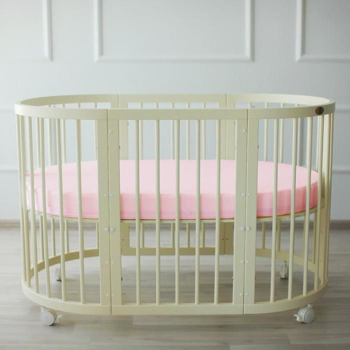 Простыня овальная на резинке «Крошка Я» 165х115+20 см, цвет розовый, мако-сатин