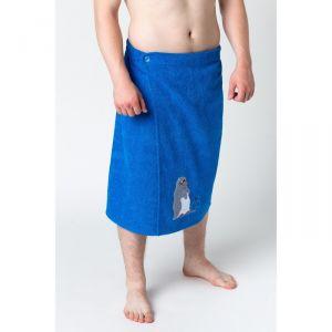 Килт муж КМ-2019, 70х150 синий, вышивка Пингвины, махра 300г/м хл100% 3568329