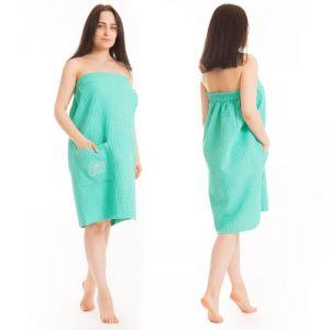 Килт(юбка) жен. вафельный однотон, вышивка, арт:КВ-4В бирюза. 80Х150, Хл, 215 г/м 2581052