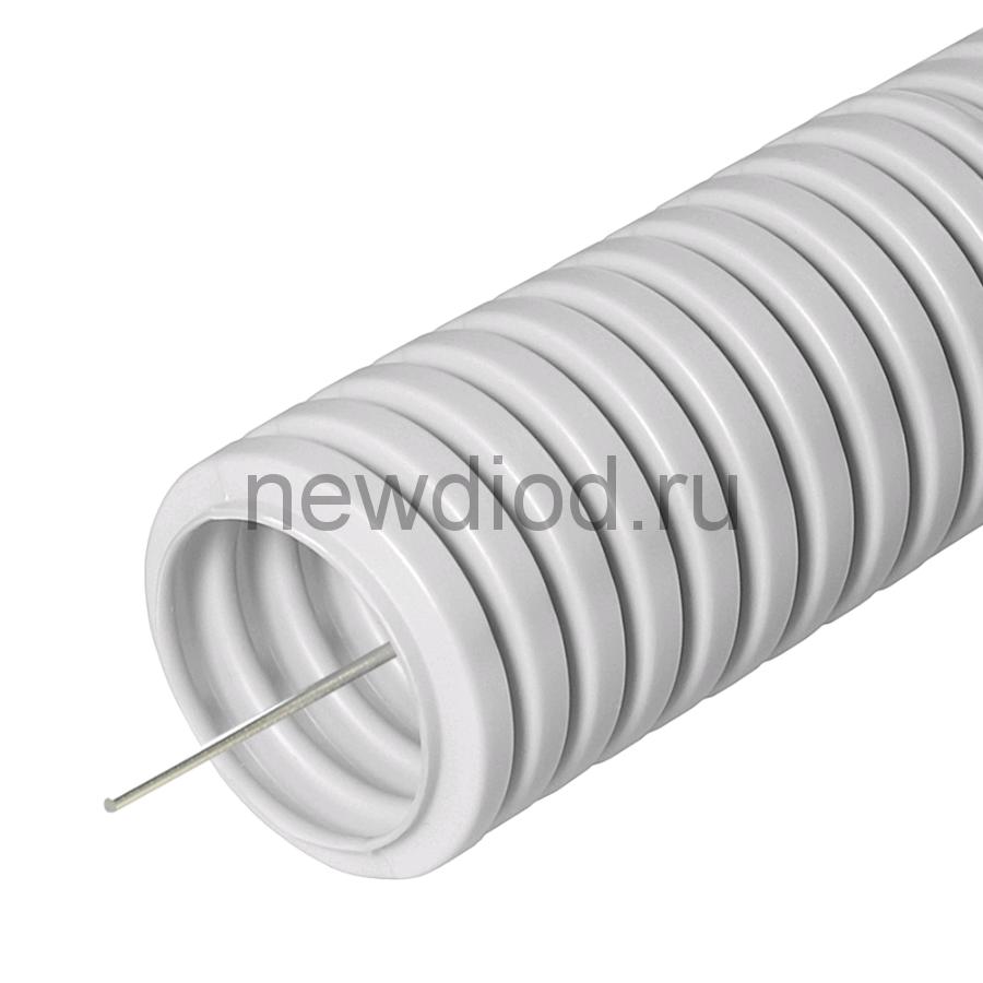 Труба гофрированная ПВХ легкая 350 Н серая с/з д50 (15м/660м уп/пал) Промрукав