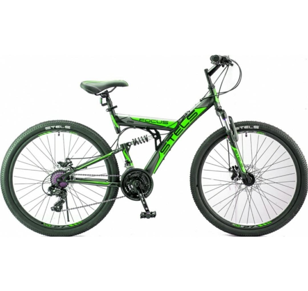 Велосипед Stels Focus MD 26 2018 черный/зеленый