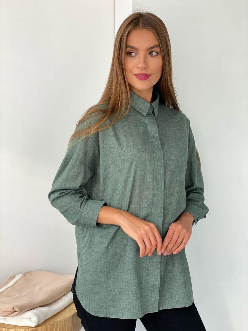 """s2452 Рубашка """"оверсайз"""" фисташковая"""