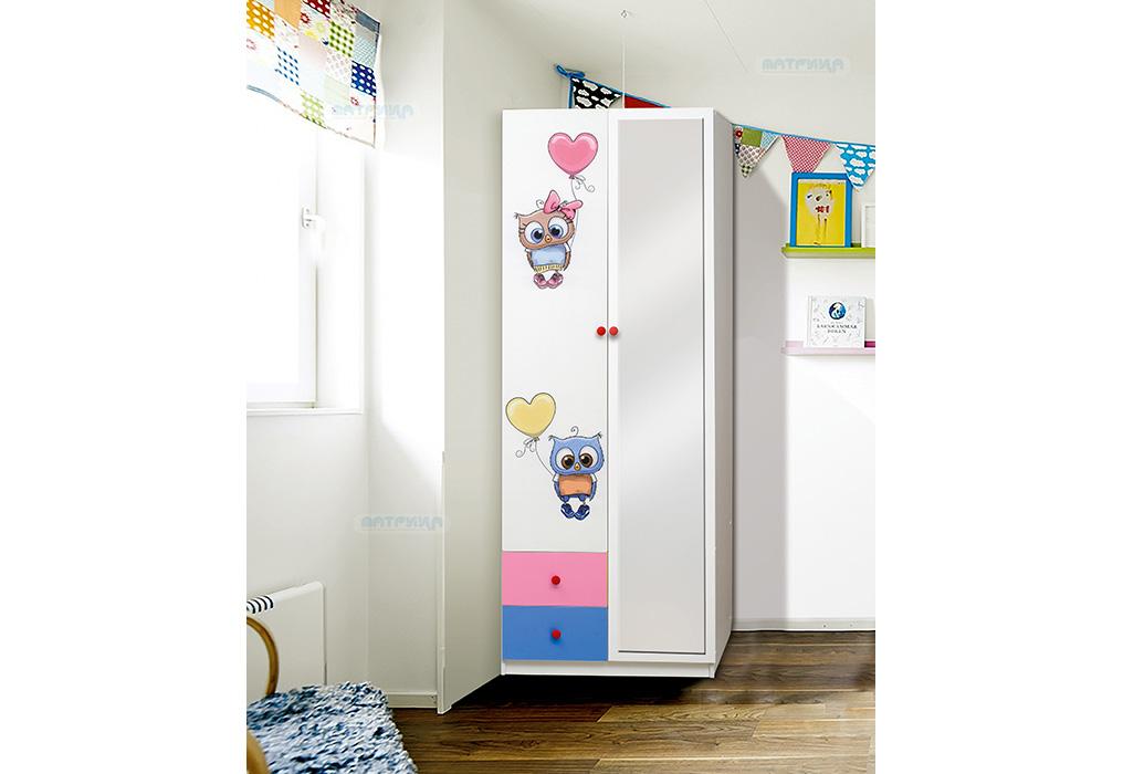 """Шкаф 2-х дверный с ящиками и фотопечатью """"Совята"""" 2.2"""