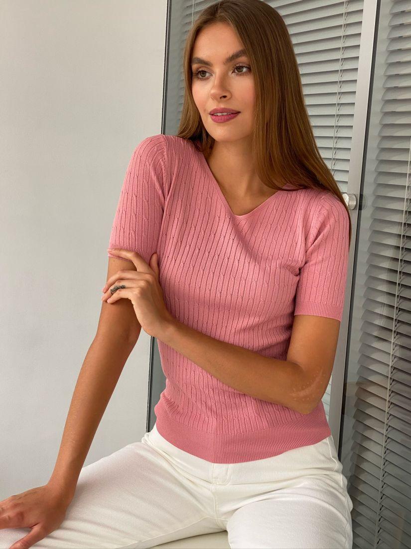 s2468 Пуловер тонкий розовый