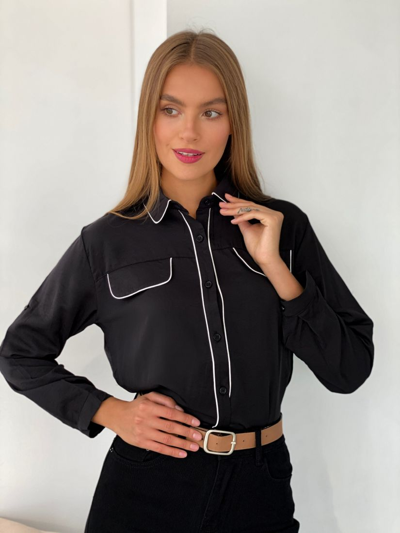 s2480 Рубашка с контрастной отделкой чёрная