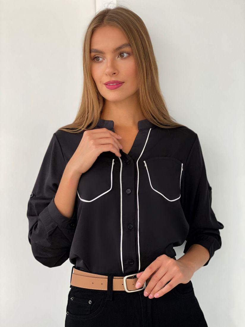 s2481 Рубашка с контрастной отделкой чёрная