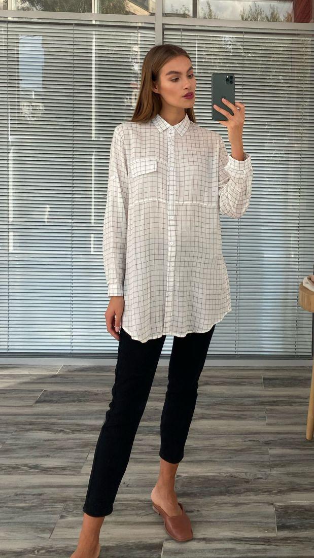 s2482 Удлинённая рубашка белая