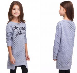 ДИСКОНТ VILATTE F42.076 Платье для девочки серый в горошек