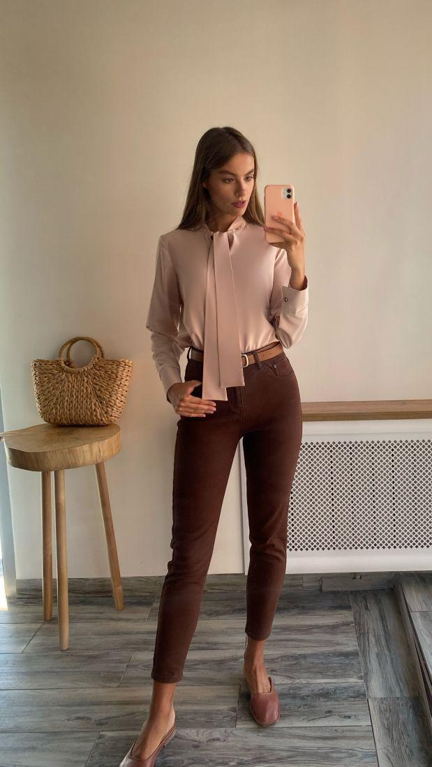 s2485 Блуза с завязками кремовая