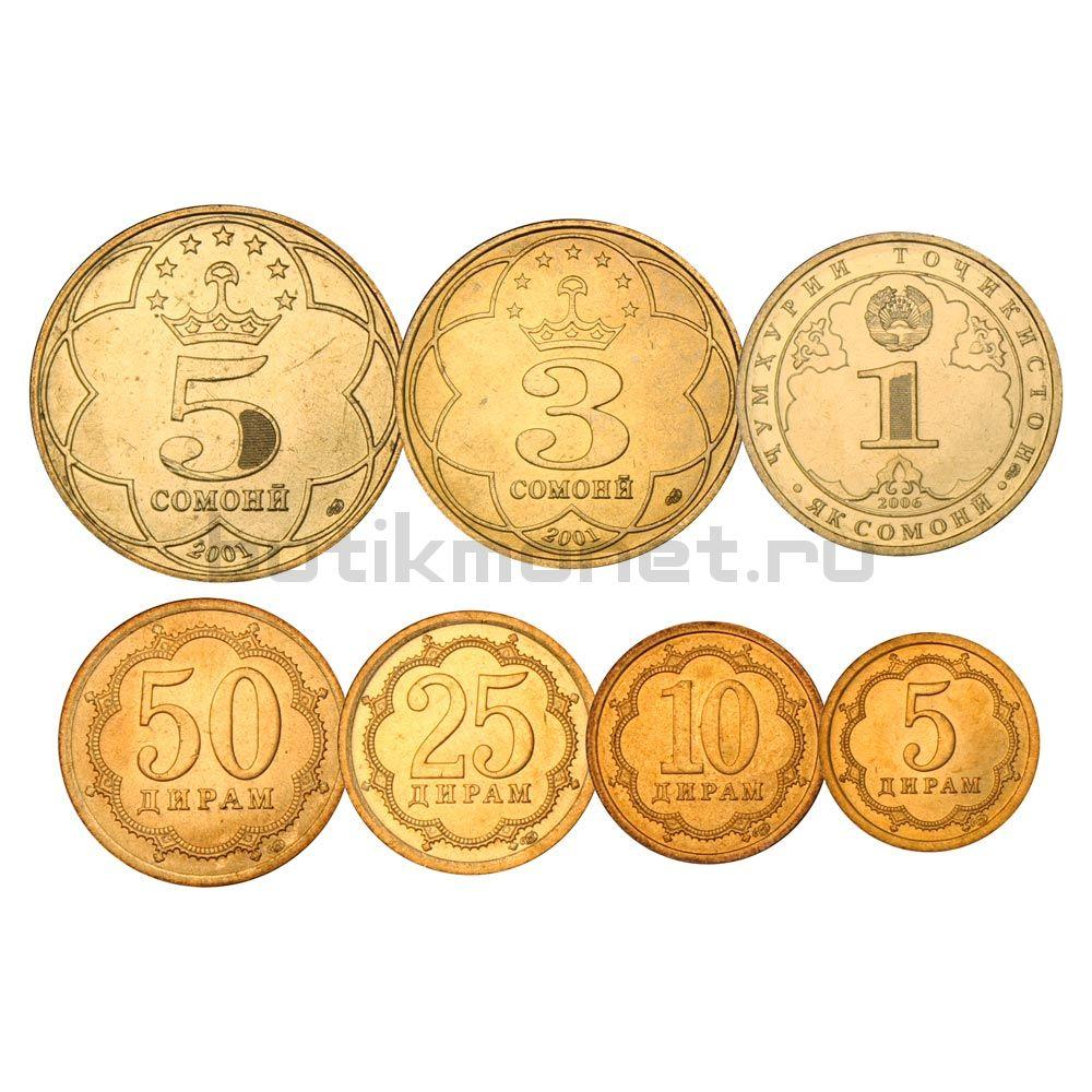 Набор монет 2001-2006 Таджикистан (7 штук)