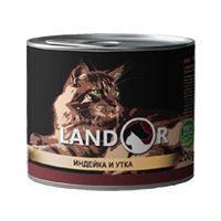 Ландор для взрослых кошек индейка с уткой 200г