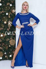 Синее платье в пол с разрезом