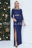 Темно-синее платье в пол с разрезом