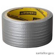 STAYER. Армированная лента, универсальная, влагостойкая, 48мм х 10м, серебристая