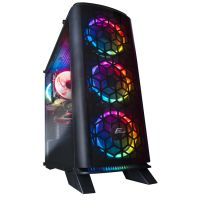 Корпус Frime Magneto RGB LED HUB без БП (Magneto-U3-GLS-4RDRF); 1xUSB 3.0, 2xUSB, обе боковые панели из закаленного стекла, 4шт RGB Double Ring Fan с Fan HUB и пульт ДУ