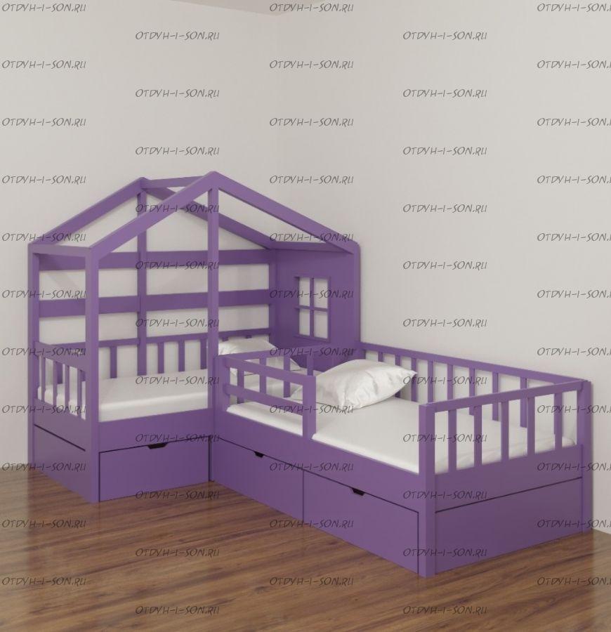 Кровать Домик угловой Fairy Land №37 (для двоих детей)