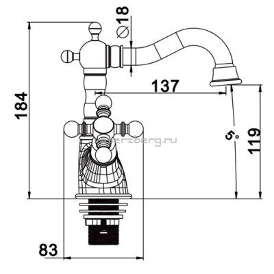 Смеситель д/раковины G1389-4