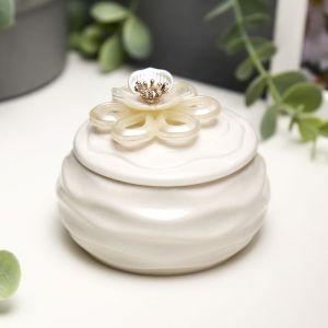 """Сувенир керамика """"Белый жасмин"""" 6,5х8,5х8,5 см   5120856"""