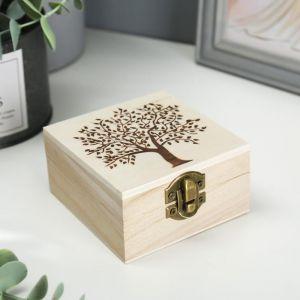 """Шкатулка дерево для росписи """"Дерево"""" 10х10х5 см 2811566"""