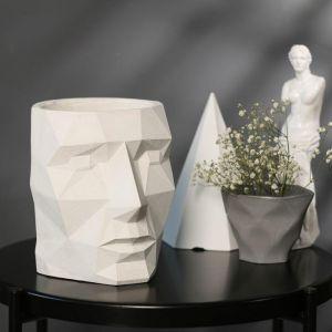 Кашпо белое полигональное из бетона «Голова», 16 х 20 см