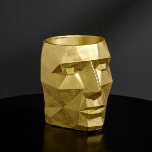 Кашпо золотое полигональное «Голова», 11 х 13 см 5270825