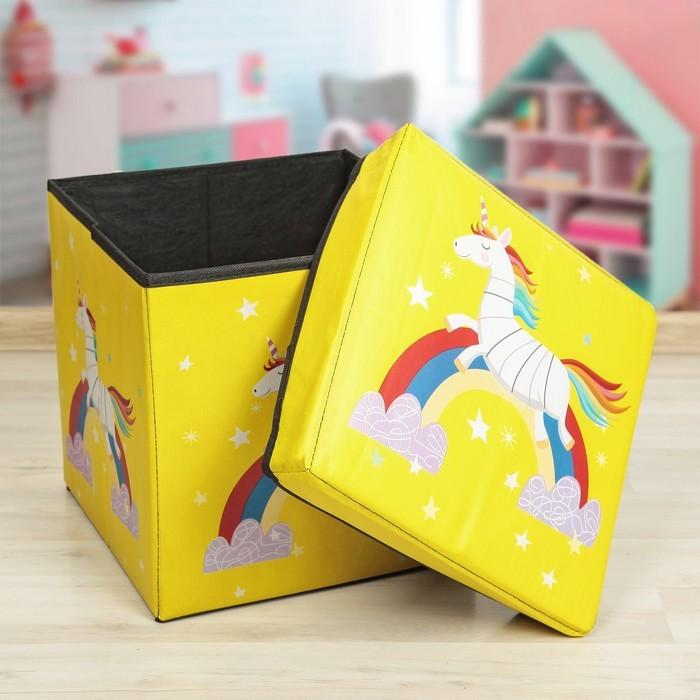 Детский складной пуф-короб для хранения 2 в 1, Единорог