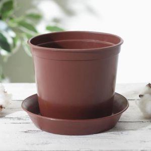 Горшок для цветов с поддоном 1 л, цвет коричневый