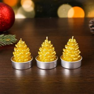 """Свеча новогодняя """"Шишка золотая"""", 4?6 см, цена за 1 штуку   4385137"""