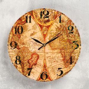 """Часы настенные """"География"""", d-23.5. плавный ход 5233999"""