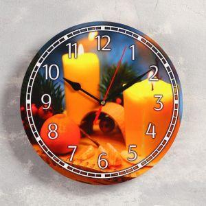 """Часы настенные, серия: Новый год, """"Свечи"""", d=24 см, плавный ход 5307579"""