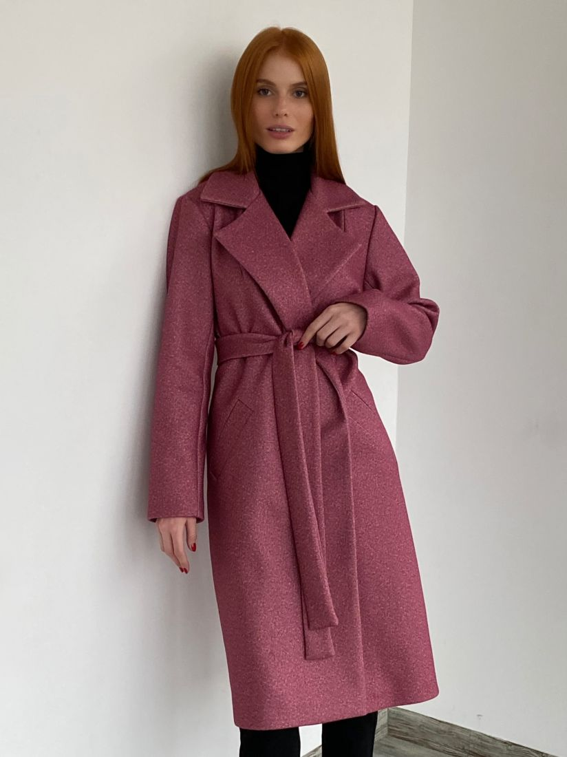 s2782 Пальто классического кроя меланж фуксия