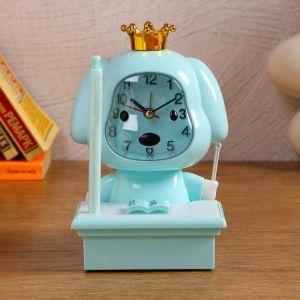 Часы-будильник с подсветкой, с ручкой, циферблат 6.6х6.5, 1 АА, дискретный ход, голубой   5169371