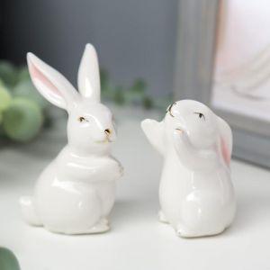 "Сувенир керамика ""Белый кролик"" МИКС 6,3х3,5х3,7 см   5070153"