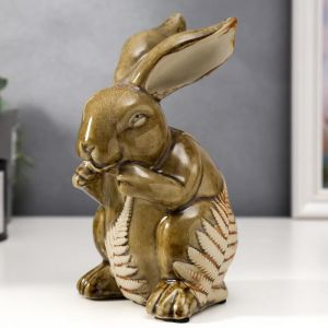 "Сувенир керамика ""Заяц с листьями папоротника"" 19,5х11х10,5 см   5164216"