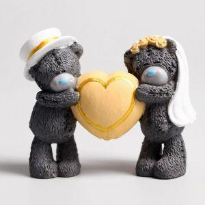 """Сувенир полистоун """"Медвежата Me to you свадебные с большим сердцем"""" 8х10 см   4518173"""