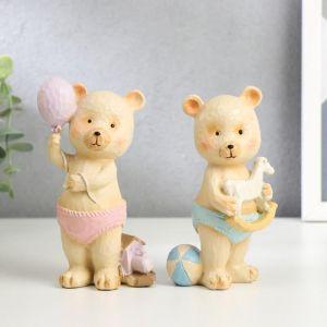 "Сувенир полистоун ""Медвежонок в трусиках, с игрушкой"" МИКС 13х5,5х5 см   5185351"