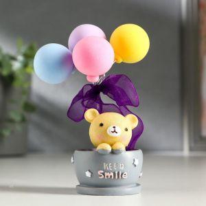 """Сувенир полистоун """"Мишка в кружке с воздушными шариками""""  МИКС 11,7х6х6 см   5112491"""