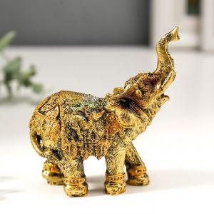 """Сувенир полистоун """"Африканский слон в мозаичной попоне"""" МИКС 10х9х4 см   3441622"""