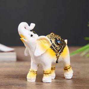 "Сувенир полистоун ""Перламутровый слон со стразой на попоне"" 6,5х6,5х3 см   4444804"
