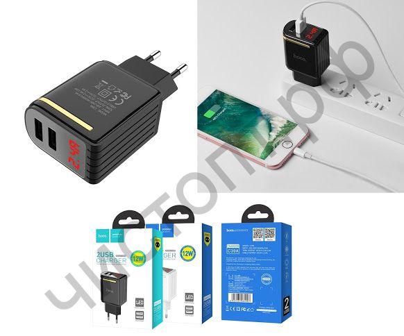 СЗУ HOCO C39A Enchanting с 2 USB выходами 2400mAh, пластик, дисплей, цвет: чёрный