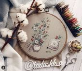 """Digital cross stitch pattern """"Cotton and rose hips""""."""
